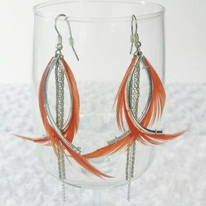 Fire Feather Metal Chain Dangle Drop Earrings